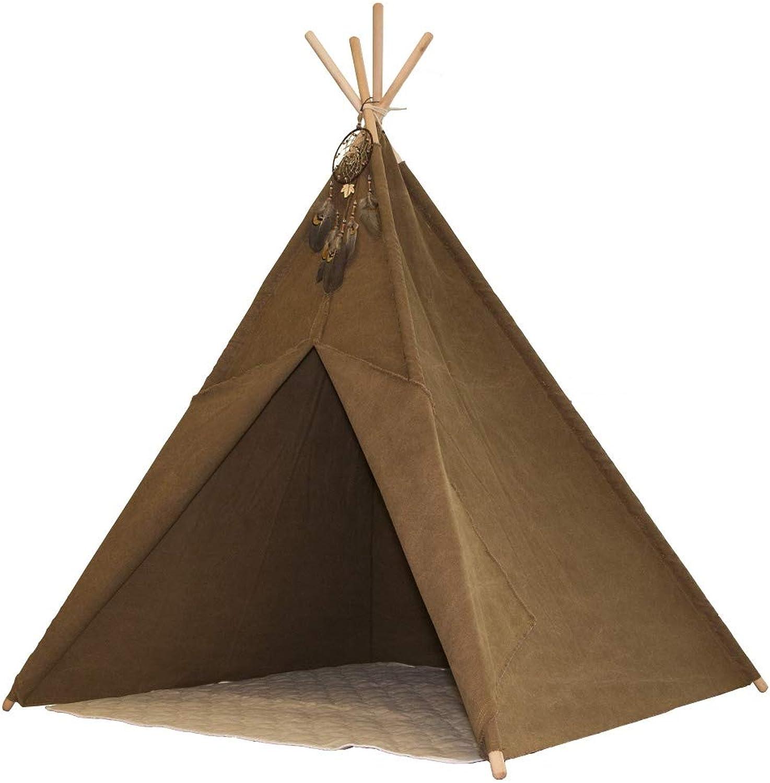 Beauty.Scouts Tipizelt Atepa braun aus Baumwolle + Eukalyptus 120x120x160cm Kinderzelt Indianerzelt Tipi Kinder Zelt Fenster Baumwolltuch Spielhaus Spielzelt