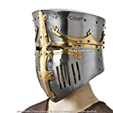 Medieval Gears Brand Functional Medieval Great Bucket Barrel Helm Pot Helmet w/Brass 16G Steel SCA