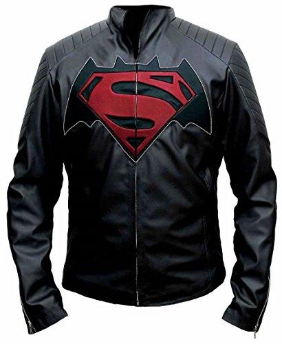 Disfraz de superhroe de Batman vs Superman, elegante y casual, chaqueta de cuero real