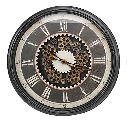 Reloj DE Pared Grande Retro - Reloj Redondo Estilo Industrial con NÚMEROS Romanos | Diámetro 75 cm | DECORACIÓN HOGAR | Reloj Decorativo Negro para salón, Comedor, Dormitorio