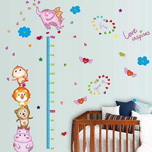 Hoge muur hoogte grafiek stickers hoog als dieren patroon muursticker stickers voor slaapkamer jongen meisje kinderen decoratie schil meter studie achtergrond hoogte kleine vliegen olifant, kleuterschool decoratie, 127*176Cm