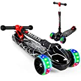 LENOGE Kids Scooter, Toddler Scooter with 3 Flashing LED Big PU Wheels Kick Scooter for KidsZero Assembly Folding Adjustable Height Toddler Scooter Toys for Ages 3-10 Boys Girls (Spider Web)