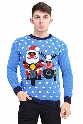 Momo&Ayat Fashions Ladies Racing Santa & Reindeer Bike Race Christmas Jumper UK Size 8-24 (Blue, S/M (UK 8-10))