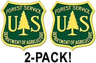 American Vinyl 2-Pack: 2.5 inch Green and Yellow US Forest Service Shield Stickers (Set foresty Logo Hike)