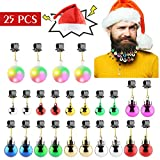 Makone 25pcs Light Up Beard Ornaments for Men, Santa Claus Hat Colorful Sounding Jingle Bells and Lights Beard Bauble Ornaments for Christmas Party Décor and New Year Festival Gift