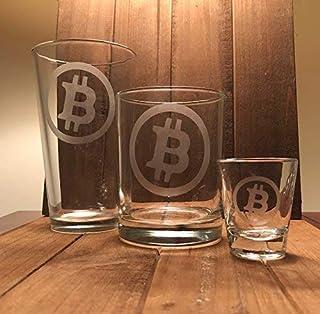 Bitcoin Pint Glass, Double Rocks Glass, or Shot Glass s- Bitcoin - Bitcoin Gift Cryptocurrency - blockchain