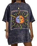 ORANDESIGNE Camiseta de Mujer Vintage Oversize Blusa de Manga Corta Cuello Redondo Estampado de Sol y Luna T-Shirt Túnica Q Azul XS