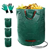 Topmart 4 Pack Garden Bag 72 Gallons with Gardening Gloves,Reusable Garden Waste Bags,Lawn & Leaf Bags Container,Leaf Waste Bag,Collapsible Lawn and Yard Waste Containers