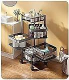 Cocina Almacenamiento Rack Vegetal Rack Cuadrado 360 Grados Piso Rotativo Multi-Capa Vegetal y Vegetal Almacenamiento Rack, Carrito de la Cocina con Almacenamiento (Size : 80cm×29cm)