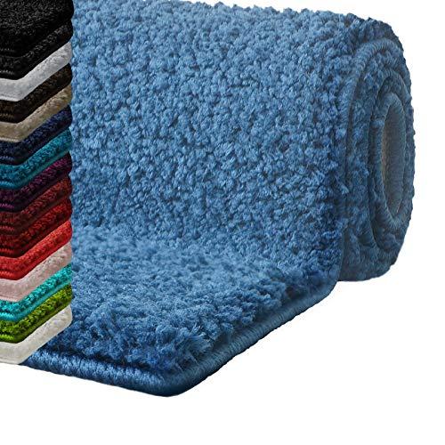 casa pura Badematte Hochflor Sky Soft   Weicher, Flauschiger Badezimmerteppich in Shaggy-Optik   Badvorleger rutschfest waschbar   schadstoffgeprüft   16 Farben in 6 Größen (80x150 cm, hellblau)
