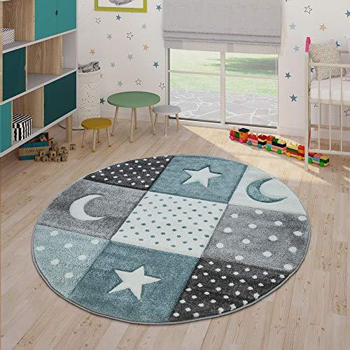 Paco Home Kinderteppich Pastellfarben Kariert Punkte Herzen Sterne Weiß Grau Blau, Grösse:Ø 120 cm Rund