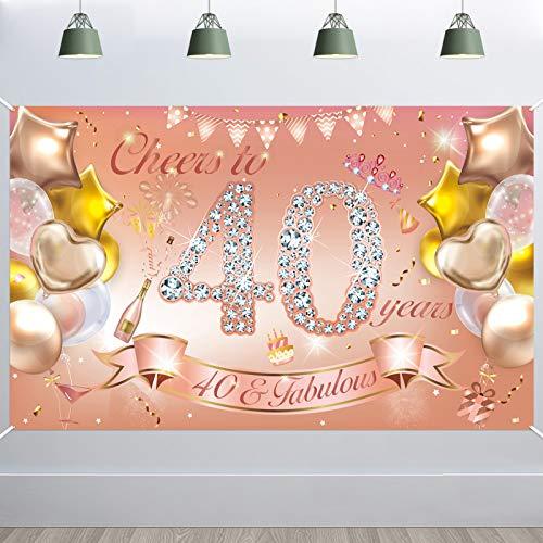 HOWAF Mujer Hombre 40 Cumpleaños Decoración Oro Rosa, Tela Pancarta para 40 Cumpleaños Foto Fondo Fotografía, 40 Cumpleaños Pared Mesa Jardín Decoración