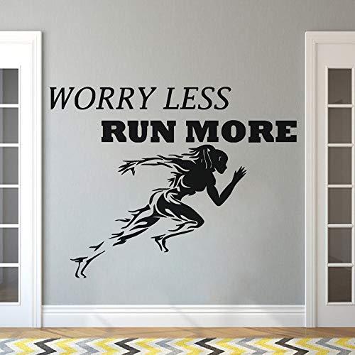 XCSJX Gym Sticker Sport Course à Pied Femmes Sticker Citation Motivational Worry Less Run More Wallpaper Mur De Remise En Forme Affiches 103x80 cm