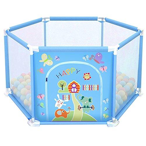 deAO Baby & Peuter Speelhuisje en Ballenpit Set voor Binnenshuis met 50 Ballen Inbegrepen (Blauwe Zeshoek)