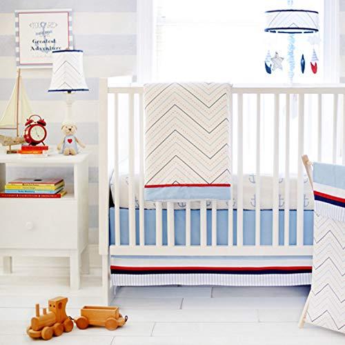 My Baby Sam First Mate 3 pièces Parure de lit de berceau, Bleu/bleu marine/rouge/blanc