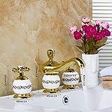 YYYes FacuetGolden pulido 3 unids set bañera diseño europeo baño grifo cubierta montado lujo lavabo mezclador [envío gratis] {oro bañera grifos 2}