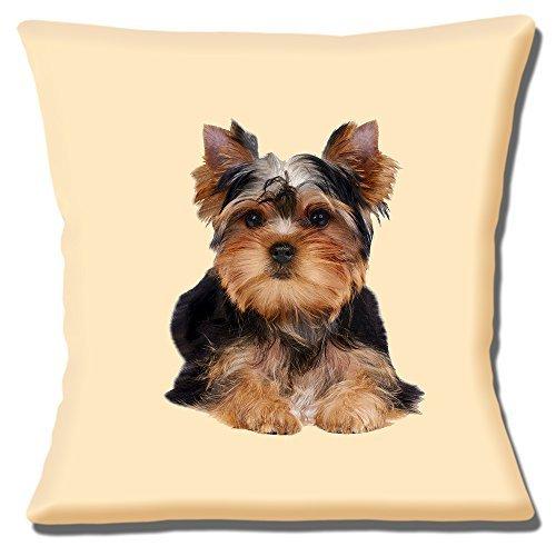 Funda de cojín con diseño de perro Yorkshire Terrier, 40 cm, color negro y marrón