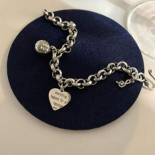 WQZYY&ASDCD Armband Armkette Damen 925 Sterling Silber Vintage Herz Armband Frauen Silber Dicke Kette Armband Schmuck