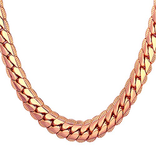 U7 Halskette für Männer Jungen 9 mm breit Erbskette Rundpanzerkette - Mesh Englische Collier Rosegold überzogen Gliederkette Modeschmuck 61cm lang, Rosegold