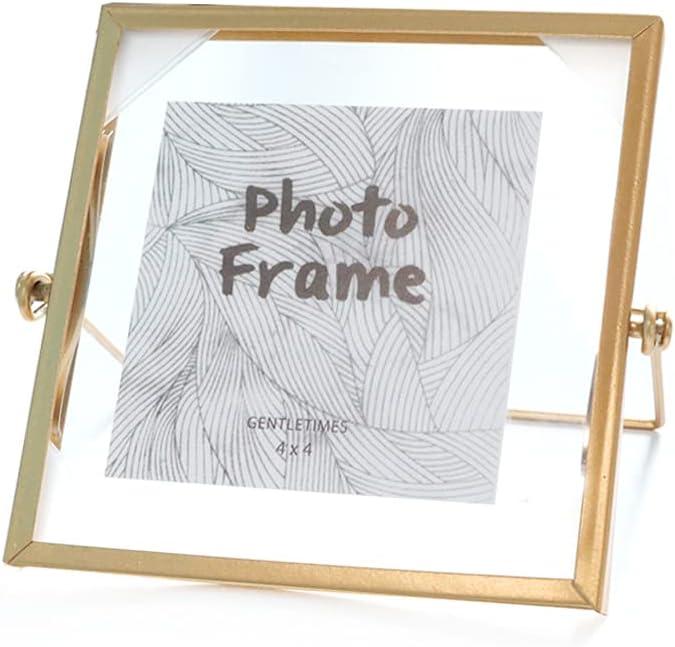 LELE LIFE Marco de fotos de metal vintage, marco de fotos de cristal, marco de fotos flotante de metal, marco de fotos dorado para escritorio, vertical, 10 x 10 cm
