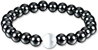 Magnética Pérdida de Peso Salud pulsera de mujer Pulsera de Terapia Ronda Negro de piedra blanca de la perla