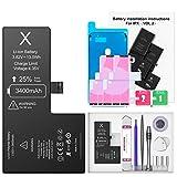 Ponoser Batería para iPhone X 3400mAH, con 25% más de Capacidad Que la batería Origina, Reemplazo de Alta Capacidad Batería para iPhone X con Kits de Herramientas de reparación