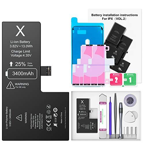 3400mAh Akku für Phone X, Ponoser Neuer 0-Zyklus Höhere Kapazität Li-ion Ersatz Akku für Apple X mit Komplett Professionelle Reparaturwerkzeuge und Anweisungen, Garantie 2 Jahr 100%