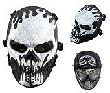 Airsoft calavera cara llena máscara de protección Militar protección Paintball Halloween disfraz htuk®, negro/blanco