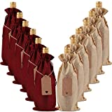 ABOAT 10 Pack Jute Burlap Wine Bags, Drawstring Wine Bottle Covers with Tags for Christmas, Wedding, Travel, Birthday, Holiday Party (Natural and Wine Red)