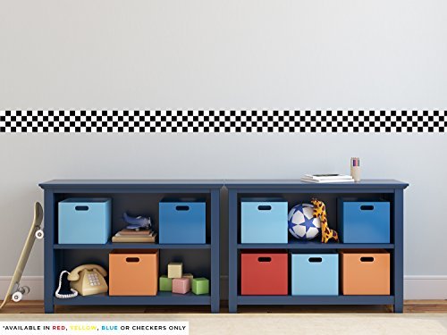 Sunny Decals Racing Stripe Border Fabric Wall Decal, 24' x 5', Checkerboard