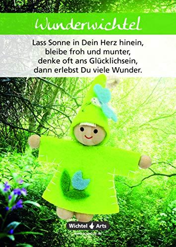 Wichtel Arts Wunderwichtel Glücksbringer, Holz, Grün mit Blauer Blume, 15 x 10.5 x 2.7 cm