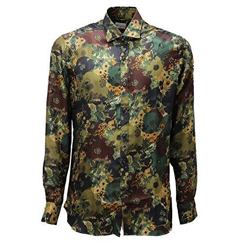 Bagutta 4338AD Camicia Uomo Multicolor Pure Silk Shirt Man [42 (16 1/2)]