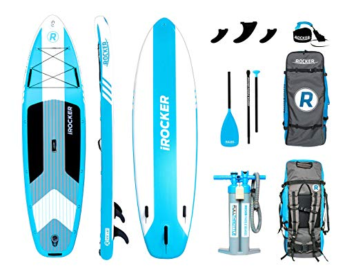 """iROCKER Cruiser Inflatable Stand Up Paddle Board 10'6"""" Long 33"""" Wide 6"""" Thick SUP Package 