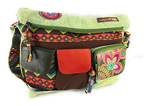 Macha Sac bandoulière Sac à main en coton avec inserts en cuir avec imprimés colorés,r pour femme indien ethnique boho hippie (kaki)