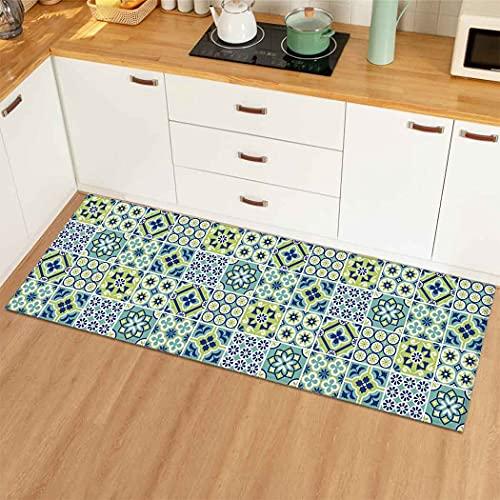OPLJ Alfombra geométrica Simple para el Piso de la Cocina, Alfombra Antideslizante para baño, Sala de Estar, Dormitorio, Cocina, Alfombra A1 60x180cm