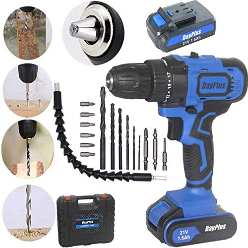 Electric Cordless Drill Driver Screwdriver Electric DIY Set, 1500mAh Lithium-Ion Battery, Variable Speed Trigger, LED Worklight, 18+1 Torque Setting, Handheld DIY Power Tool for Drilling Holes Drive