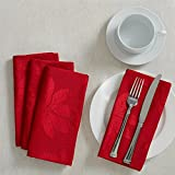 Poinsettia Legacy Damask Christmas Tablecloth (Red, 18' X 18' Napkins Set of 4)