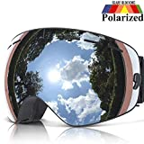 COPOZZ Ski Goggles, G1 OTG Snowboard Snow Goggles for Men Women Youth, Interchangeable Double Layer Anti Fog UV Protection Lens, Polarized Goggles Available (G1-Polarized Silver Lens(VLT 10.1%))