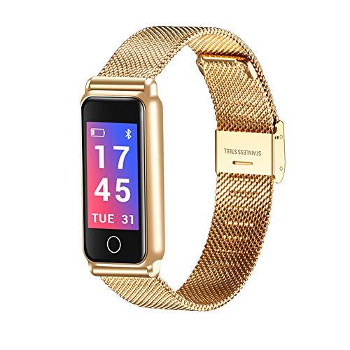 Metall farbbildschirm smart Armband farbbildschirm blutdruck herzfrequenz Schlaf wasserdicht Bluetooth Uhr Handgelenk helles Armband-Gold