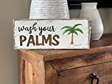 Wood Signs Decor Wash your palms. Hand painted wood sign Beachy decor Bathroom sign Palm tree wall decor wash decor bathroom decor
