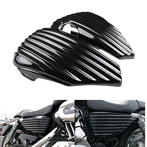 KYN for Harley Sportster 1200 2004-2013 XL1200C XL1200L XL1200C XL1200R XL1200V XL1200X XL1200N Left Right Side Oil Tank Fairing Battery Cover Guard Replacement (Left+Right)