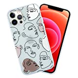 """Meilib Abstract Line Women Case Designed for iPhone 12 Pro Max (2020) 6.7"""" inches, Drawing Protective Thin Slim Case Cartoon for Girls Women Shockproof Soft TPU Cover- Matte Clear Case"""