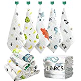 Caiery 10pcs Baby Washcloths Soft | Baby Muslin Washcloth | Face Towels for Newborn with Sensitive Skin | Shower Gift for Baby Registry 12x 12 inch(30x30cm)