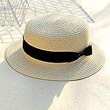 UKKO Sombrero Paja Cinturón Negro De Las Mujeres Clásicas De Jazz De Paja Mujer Panamá Playa Sol del Verano del Sombrero,Apartamento Arco De Color Beige