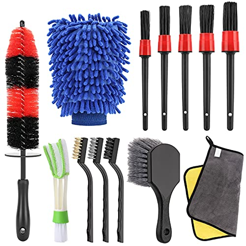 MOPOIN Kit Limpieza Coche, 13 Pcs Juego de Cepillos de Limpieza con 5 Pcs Auto Detailing Brush Set, Cepillo Llantas para Lavado Ruedas, Motor, Ventilación de Aire, Moto, Interior y Exterior