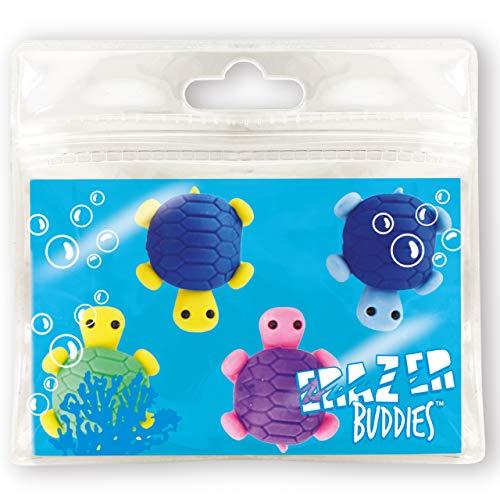 Erazer Buddiez - Tortuga Marina de Deluxebase. Gomas de borrar con forma de tortuga para niñas y niños. Colorido set de borradores de lápiz, ideal para útiles escolares y artículos de oficina
