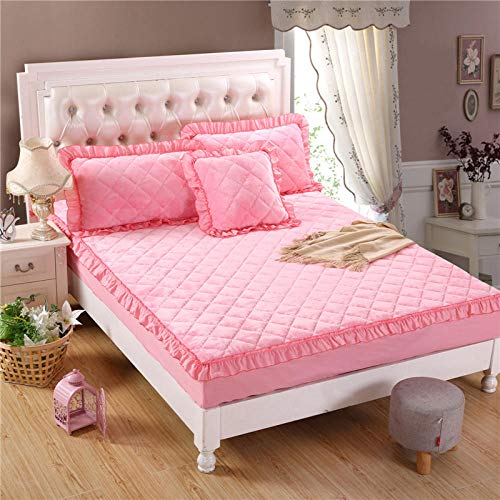 N / A girls sheets,Solid color flannel quilted bed sheet thick warmth non-slip mattress cover single double cover-_pink_jade_180x200cm+28cm+pillowcase*2