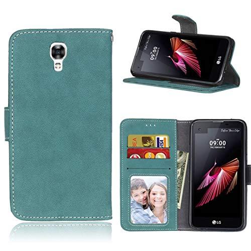 Ycloud Geldbörse Hülle für LG X Screen Smartphone, Matt Textur PU Leder Magnetisch Flip Handyhülle mit Standfunktion Kartenfächer Entwurf (Blau)