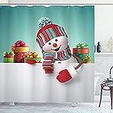 ABAKUHAUS Weihnachten Duschvorhang, Schneemann & Boxen, Wasser Blickdicht inkl.12 Ringe Langhaltig Bakterie & Schimmel Resistent, 175 x 200 cm, Multicolor