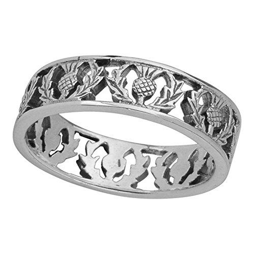 Schottische Blume des Schottland-Distel-Sterlingsilber-Ring-Bandes